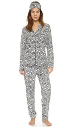 Stella Mccartney Poppy Snoozing Pj Set And Eye Mask Hearts Lips Print
