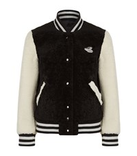 Marc Jacobs Sheepskin Varsity Jacket Female Black