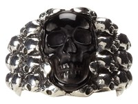 King Baby Studio Rainbow Obsidian Carved Skull In Silver Skull Frame Silver Black Ring Gray