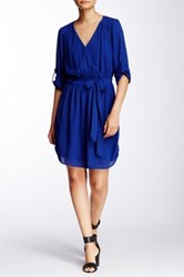 Daniel Rainn Pebble Crepe Printed Dress Petite Blue