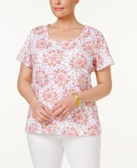 Charter Club Plus Size Cotton Floral Print T Shirt Only At Macy's Glamour Pink Combo