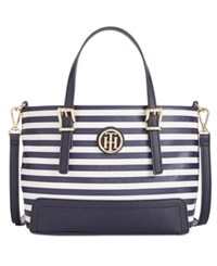 Tommy Hilfiger Honey Saffiano Striped Small Tote Navy Cream