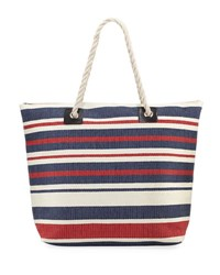San Diego Hat Company Woven Striped Tote Bag With Rope Handles Blue