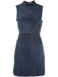 T By Alexander Wang Fitted Suede Dress Blue