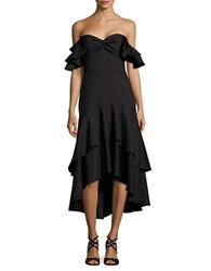 Shoshanna Off The Shoulder Hi Lo Hem Dress Jet