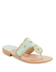 Jack Rogers Nantucket Whipstitched Thong Leather Sandals Mint Gold