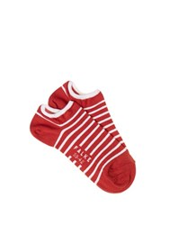 Falke Striped Trainer Socks Red Multi