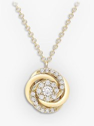 Ibb 9Ct Gold Cubic Zirconia Rose Pendant Necklace Gold