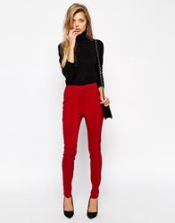 Asos High Waist Trousers In Skinny Fit Wine