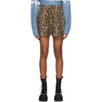 R 13 R13 Black And Brown Leopard Pleated High Rise Shorts