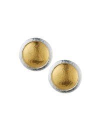 Gurhan Amulet Round Button Earrings Silver Gol