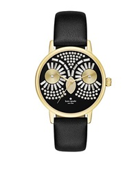 Kate Spade Crystal Owl Metro Goldtone Stainless Steel And Black Leather Strap Watch