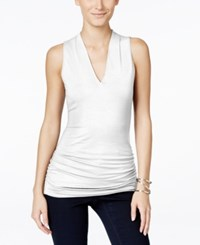 Inc International Concepts Ruched V Neck Top Only At Macy's Bright White