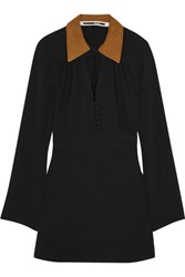 Mcq By Alexander Mcqueen Faux Suede Trimmed Crepe Mini Dress Black