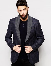 River Island Blazer In Wool Blend With Detachable Collar Navy