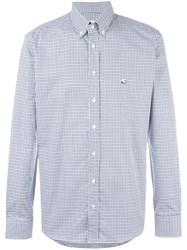 Etro Button Down Checked Shirt Blue