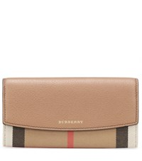 Burberry House Check And Leather Wallet Beige