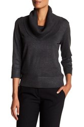 Cable And Gauge 3 4 Sleeve Ribbed Cowl Neck Sweater Gray
