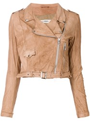 Giorgio Brato Cropped Motorcycle Jacket Nude And Neutrals