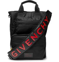 Givenchy Logo Print Leather Trimmed Shell And Mesh Bag Black