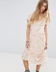 Minkpink Beauty And The Beast Sheer Layer Smock Dress With Feather Print Pink