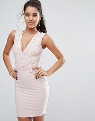 Lipsy Plunge Bodycon Dress With Cornelli Trim Nude Pink