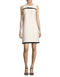 Karl Lagerfeld Ruffle Hem Tweed Dress White