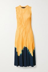 Proenza Schouler Knotted Tie Dyed Ribbed Knit Midi Dress Saffron