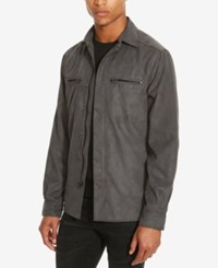 Kenneth Cole Reaction Men's Faux Suede Shirt Jacket Gray