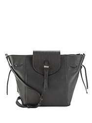Meli Melo Fleming Woven Flap Leather Shoulder Bag Black