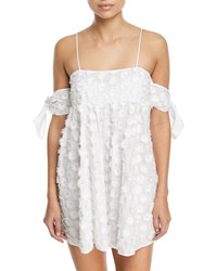 Milly Hartli Floral Embroidered Mini Coverup Dress White