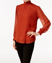 Ny Collection Metallic Detail Turtleneck Blouse Gingerbread