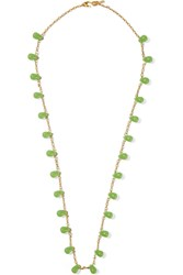 Kenneth Jay Lane Gold Tone Bead Necklace Green