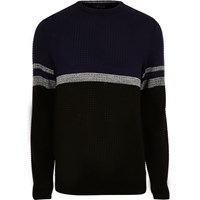 River Island Mens Navy Perforated Stripe Jumper