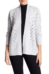 Kinross Luxe Texture Cashmere Cardigan Sweater White