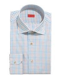 Isaia Double Graph Check Dress Shirt Brown Aqua Blue