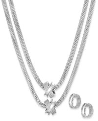 Charter Club Crisscross Mesh Double Layer Necklace And Hoop Earrings Set Only At Macy's Silver
