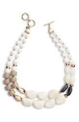 Halogen Dual Strand Beaded Necklace White Gold