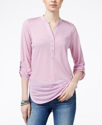 Almost Famous Juniors' Utility Tunic With Lace Back Mauve