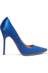Vetements Manolo Blahnik Printed Satin Pumps Bright Blue