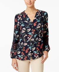 Charter Club Petite Printed Lace Inset Blouse Only At Macy's Intrepid Blue Combo