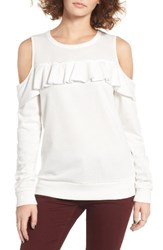 Socialite Women's Ruffle Cold Shoulder Pullover Off White