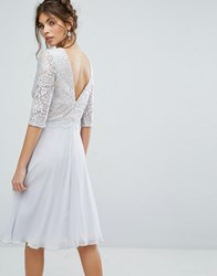 Elise Ryan V Back Midi Dress With Eyelash Lace Upper Multi