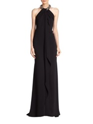 Carmen Marc Valvo Jeweled Cascade Front Crepe Gown Ivory Black