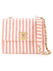 Chanel Vintage Striped Shoulder Bag Pink And Purple