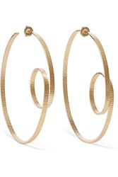 Annie Costello Brown Circle Scroll Gold Vermeil Hoop Earrings One Size