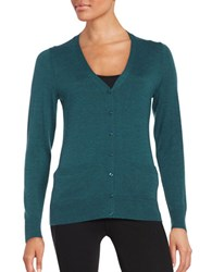 Lord And Taylor Merino Wool Button Front Cardigan Teal Heather