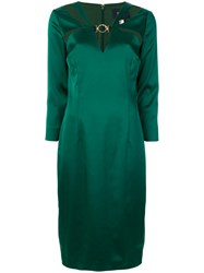 Class Roberto Cavalli Long Sleeved Cut Out Dress Polyamide Polyester Spandex Elastane Acetate Green