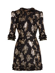 The Vampire's Wife Cate Floral Fil Coupe Mini Dress Black Gold