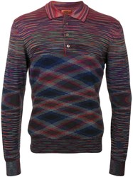 Missoni Long Sleeve Knitted Polo Shirt Men Cotton Wool 52
